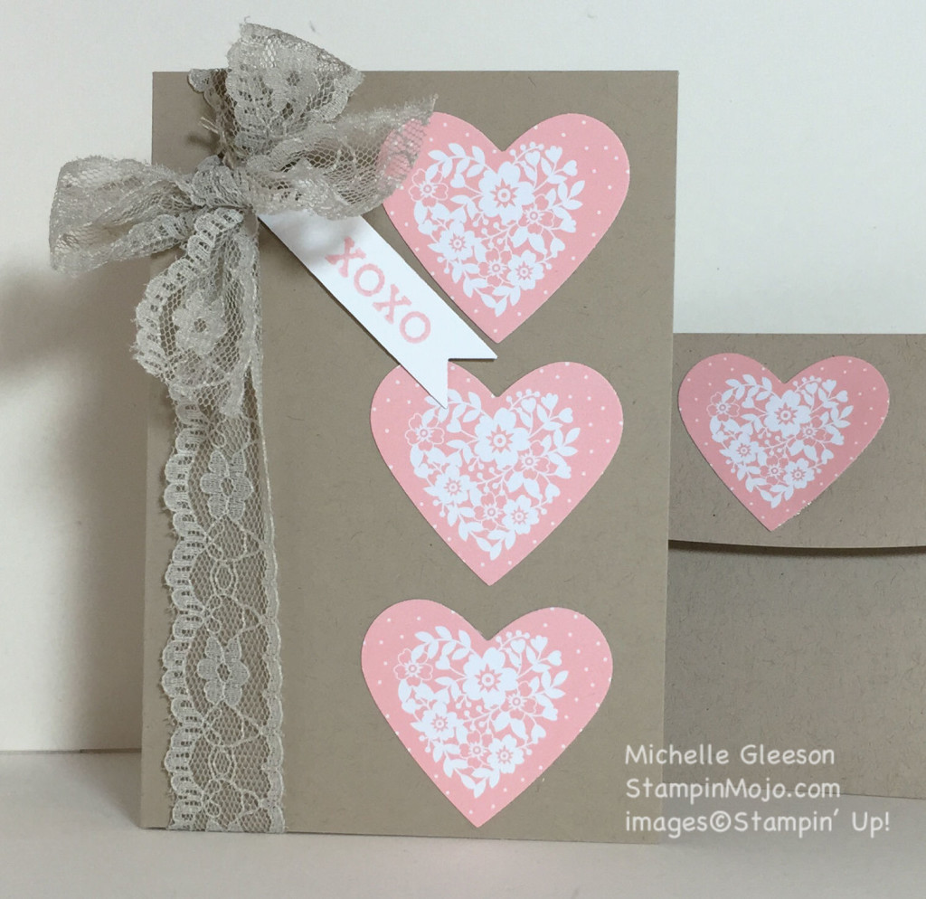 Crumb Cake Note cards & Envelopes, Love Blossoms DSP, StampinMojo