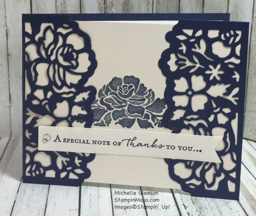 Stampinmojo, thank you, Floral Phrases, Detailed Floral thinlit