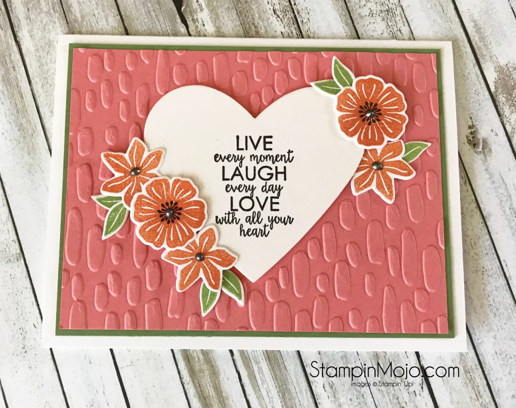 Stampin Up Beautiful Bouquet Bundle Ribbon Of Courage Sweetheart Embossing Folder Encouragement Card Michelle Gleeson Stampinup Su Stampin Mojo