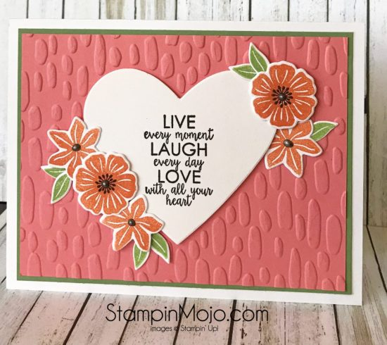 Stampin Up Beautiful Bouquet Bundle Ribbon of Courage Sweetheart embossing folder encouragement card idea Michelle Gleeson Stampinup SU