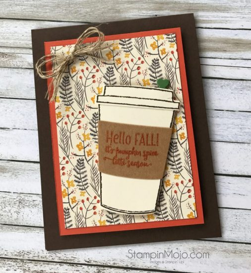 Stampin Up Painted Autumn DSP Merry Cafe Coffee Cups Framelits Thinking of You card idea Michelle Gleeson Stampinup SU