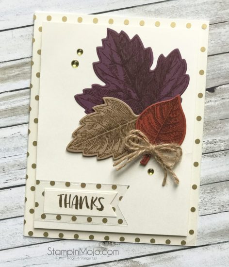 Stampin Up Vintage Leaves FMS#302 Fabulous Foil Acetate Thank you card idea Michelle Gleeson Stampinup SU