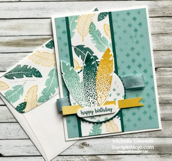 Four feathers for a happy birthday stampin mojo stampin up pattern party masks four feathers bundle birthday card idea michelle gleeson stampinup su bookmarktalkfo Gallery