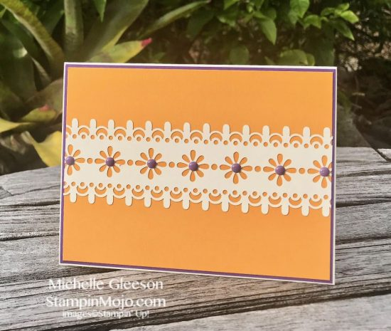 Stampin Up Delightfully Detailed Laser Cut DSP Simple Note Card idea Michelle Gleeson Stampinup SU