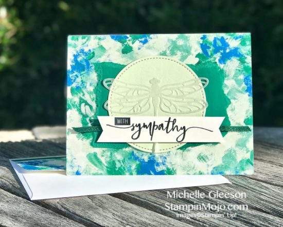 Stampin Up Abstract Impressions DSP Detailed Dragonfly Thinlits Sympathy card idea Michelle Gleeson Stampinup SU