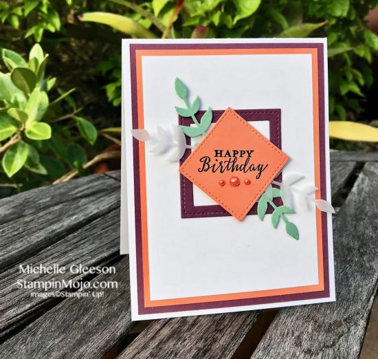 Stampin Up GDP145 Color Challenge Birthday Card Stiched Framelits Detailed with Love Michelle Gleeson Stampinup SU