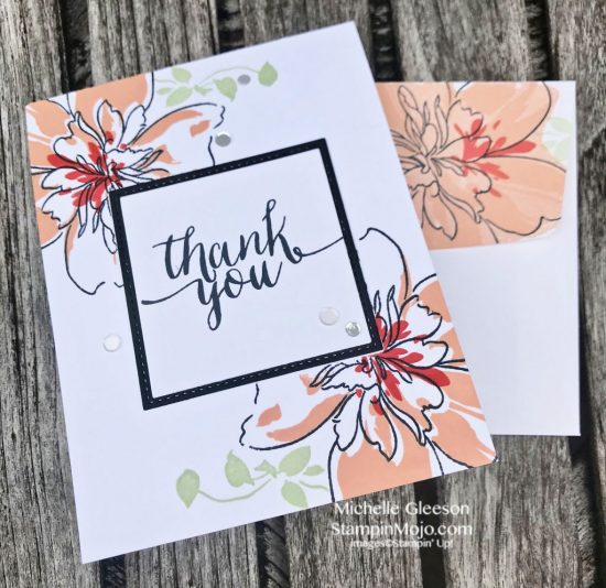 Altenew Floral Art Thank you card Michelle Gleeson