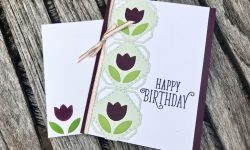 Stampin Up Concord and 9th Tulip Label Dies SU Happy Birthday Gorgeous Stamp Birthday card idea Michelle Gleeson Stampinup C9