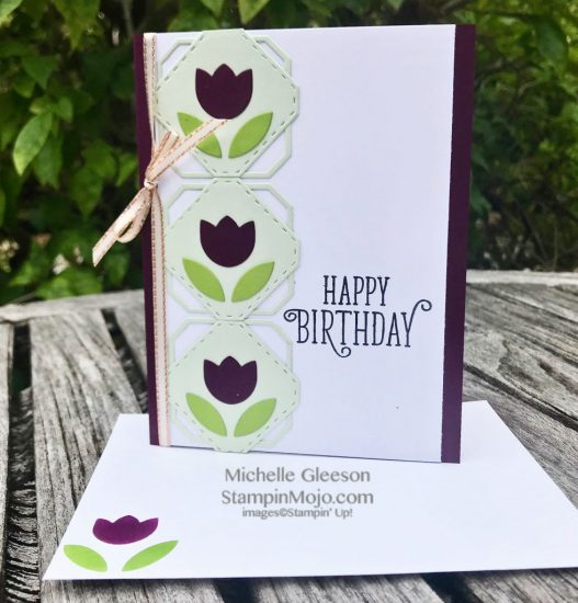 Stampin Up Concord and 9th Tulip Label Dies SU Happy Birthday Gorgeous Stamp Birthday card ideas Michelle Gleeson Stampinup C9
