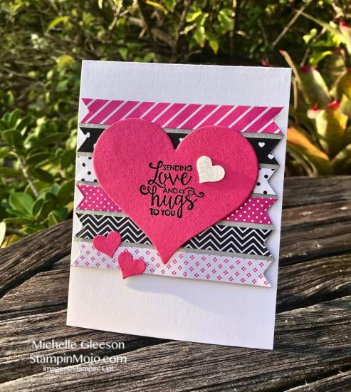 FMS #366 Stampin Up Ribbon of Courage Sweet and Sassy Heat Dies Love Card Idea Michelle Gleeson Stampinup SU