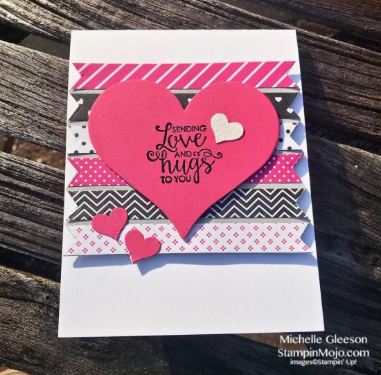 FMS #366 Stampin Up Ribbon of Courage Sweet and Sassy Heat Dies Love Cards Michelle Gleeson Stampinup SU