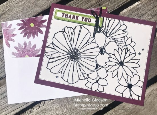 Concord & 9th Fine Floral Stamps & Dies Thank you card idea Michelle Gleeson