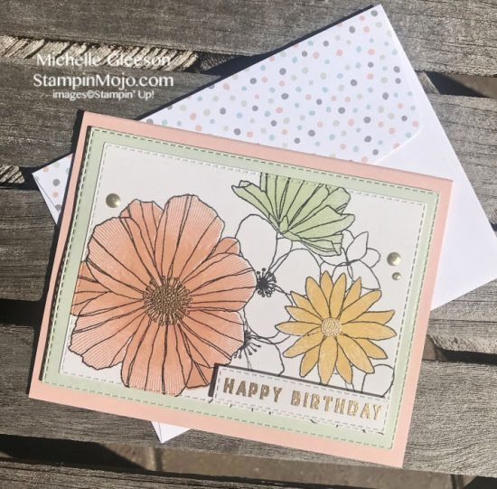 Concord & 9th Fine Line Florals Stampin Up Rectangle Stitched Dies Birthday card Michelle Gleeson Stampinup SU C9