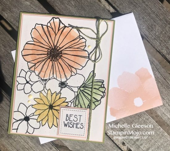 Concord & 9th Fine Line Florals Stampin Up Rectangle Stitched Dies Birthday card Watercoloring version Michelle Gleeson Stampinup SU C9