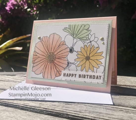 Concord & 9th Fine Line Florals Stampin Up Rectangle Stitched Dies Birthday card ideas Michelle Gleeson Stampinup SU C9