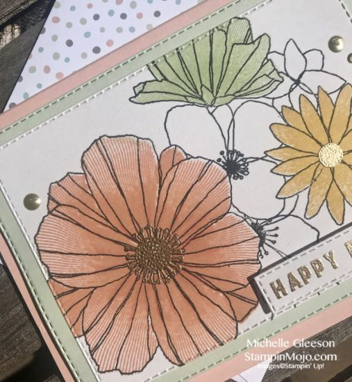 Concord & 9th Fine Line Florals Stampin Up Rectangle Stitched Dies Gold Heat Embossing Birthday card idea Michelle Gleeson Stampinup SU C9