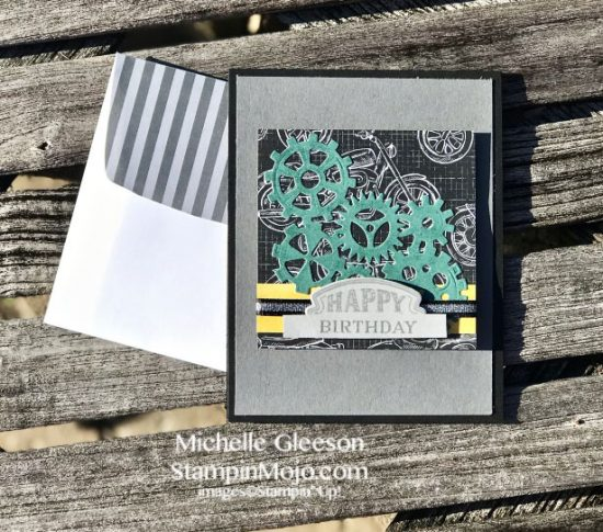 Stampin Up Classic Gargage DSP Garage Gears Thinlits Dies Geared Up Garage Stamp Set Masculine Birthday Card Idea Michelle Gleeson Stampinup SU