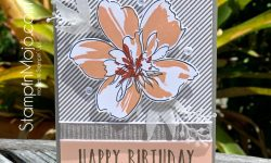 Stampin Up Perennial Birthday Altanew Florial Art Altanew Pinstripes Gray Graphite and Petal Pink Birthday card idea