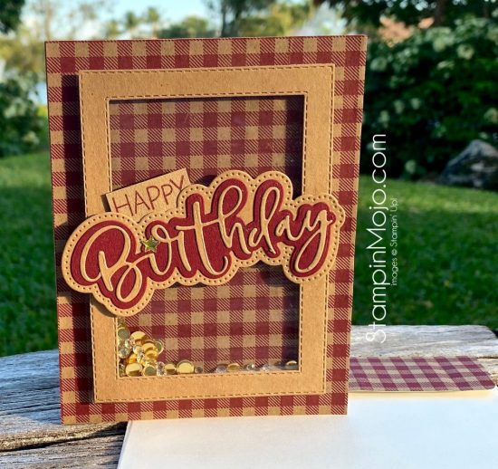 Honey Bee Stamps Happy Birthday Honey Cuts Shaker Cards Masculine card ideas Michelle Gleeson Stampinmojo