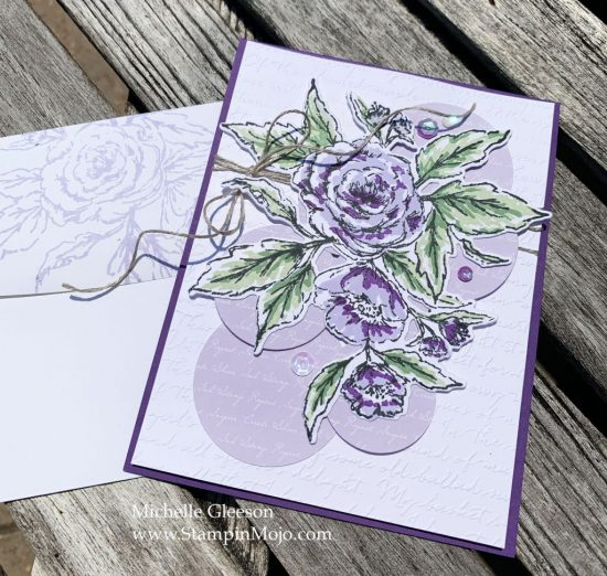 The Greetery Sketched Roses Purple Posy Michelle Gleeson Anytime card idea