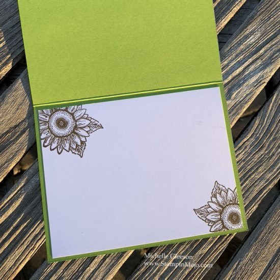 Stampin up Celebrate Sunflowers Bundle The Spot Creative Color Challenge #112 #GDP242 Anytime card inside view Michelle Gleeson Stampinup SU