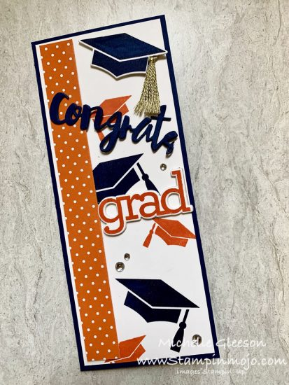 Simon Says Stamp Hats off Grad CZDesign Grad Party Slim Line Card Graduation Card Idea Michelle Gleeson SSS