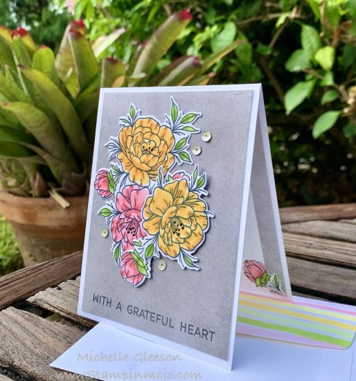 Neat Tangled Grateful Heart #FMS442 #TGIFC271 Thank you card idea Michelle Gleeson Stampinmojo