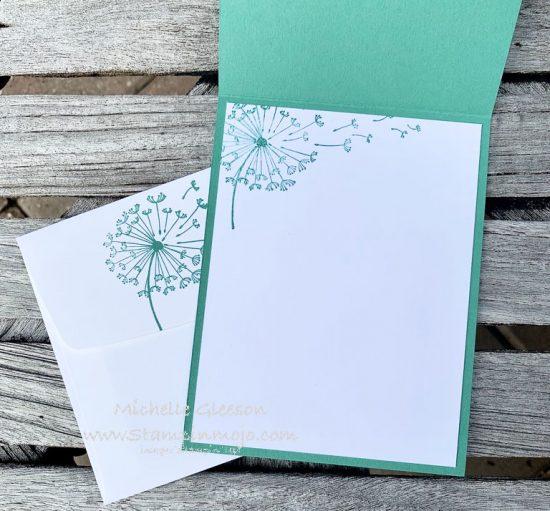 Stampin Up Just Jade Monochromatic Dandelion wishes Happiest of Birthdays Birthday Card Ideas inside peek Michelle Gleeson Stampinup SU